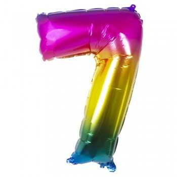 BALLOON 86 CM RAINBOW N° 7 PARTY
