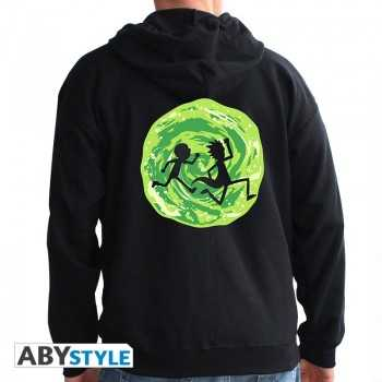 """RICK AND MORTY - Hoodie - """"Portal"""" man black - Taille : large ABYSTYLE FELPA"""